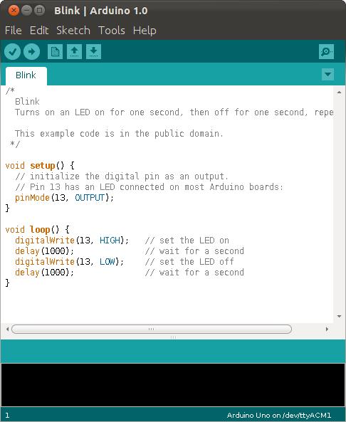 Arduino IDE med Blink-sketch