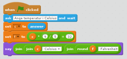 Vårt första omvandlingsprogram i Scratch