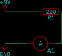 Amperemetern kopplas i serie i kretsen