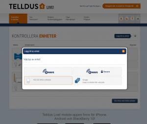 """3. I Telldus Live, klicka """"Lägg till enhet"""" och därefter """"433.92 MHz"""""""
